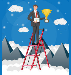 Businessman holding trophy and showing certificate vector