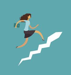 businesswoman running up stairway career ladder vector image