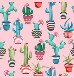 Cacti flower seamless pattern vector
