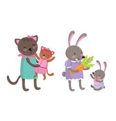 Cartoon animal parent with baor cub set vector