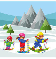 Cartoon cheerful childrens moving on ski in suit vector