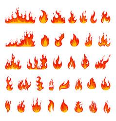 cartoon flame fire fireball red hot campfire vector image