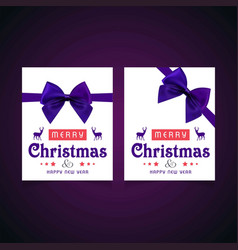 christmas card with purple bow and greetings vector image