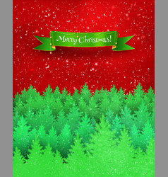 Christmas greeting card with winter landscape vector