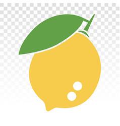 Citrus lemon fruit with leaf flat color icon vector