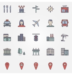City colorful icons vector