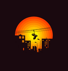 city shoes on wire in street vector image