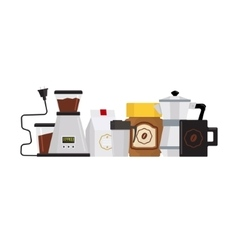 Coffee Accessories Set With Kettle vector image