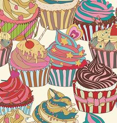 Cupcake pattern vector image