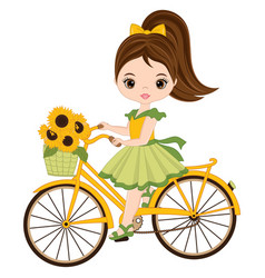 Cute little girl riding bicycle vector