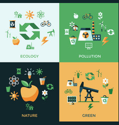 Digital green ecology icons vector