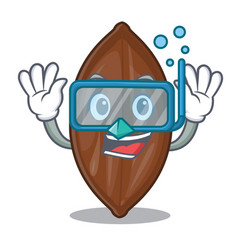 Diving character pecan nuts in wood bowl vector