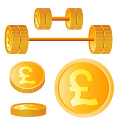 dumbbell of golden discs with pound vector image