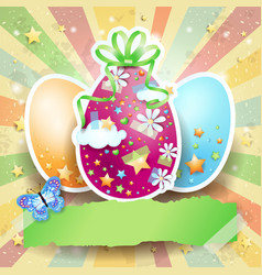easter background with easter eggs and butterfly vector image