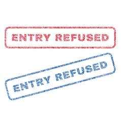 entry refused textile stamps vector image