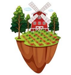 Farmyard with vegetable garden vector