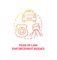 Fear law enforcement body red concept icon vector