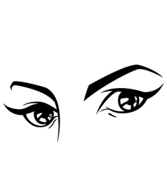 female eyes set three vector image