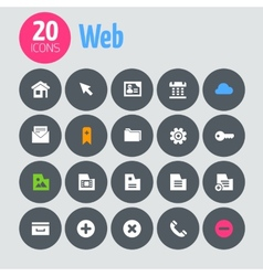 Flat minimalistic web icons on dark gray circles vector