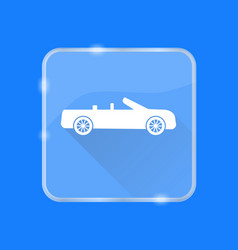 flat style cabriolet car silhouette icon vector image