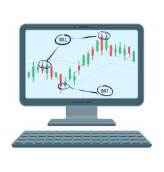 forex trading screen financial diagram of vector image