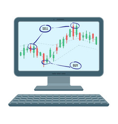forex trading screen of financial diagram of vector image