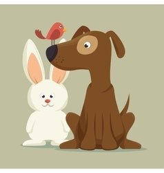 friendly dog bunny bird mascot vector image