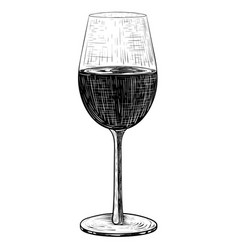 Glass of red wine black and white hand drawn vector