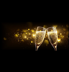 Glasses champagne with bokeh effect vector