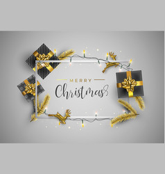 Gold christmas card frame with gift decoration vector