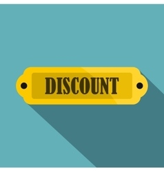 Golden discount label icon flat style vector