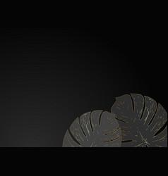 golden monstera leaves on black background vector image