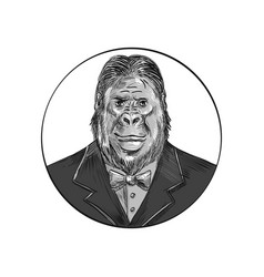 gorilla wearing tuxedo drawing vector image