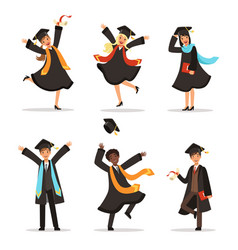 Graduation happy students at different nations vector