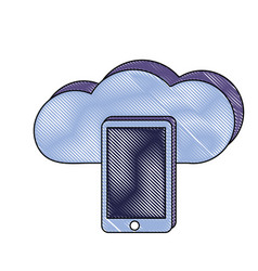 grated smartphone technology and data cloud server vector image