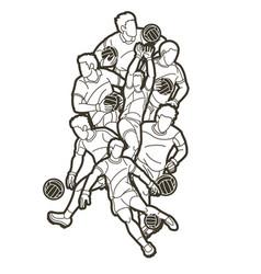 group gaelic football men players vector image