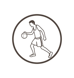 Hand drawn doodle style basketball player icon vector