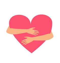 hands hugging heart isolated on a white vector image