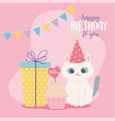 Happy birthday cute cat gift box and cupcake vector
