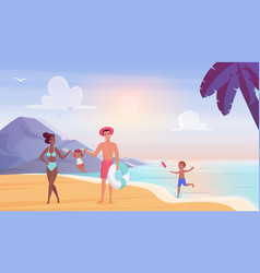 happy family on sea beach flat vector image