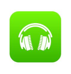 headphones icon green vector image