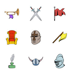 History icons set cartoon style vector
