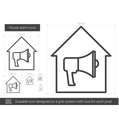 House alarm line icon vector