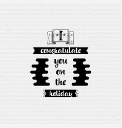 I congratulate you on holiday banner badge vector