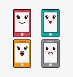 Kawaii smartphone emoticons image vector