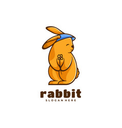 logo rabbit simple mascot style vector image