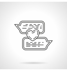 Love chat flat line icon vector image