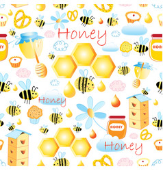 lovely seamless pattern with bees and honey vector image