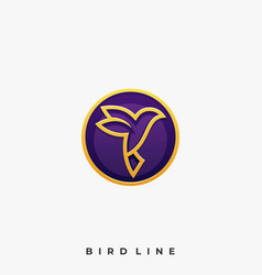luxury bird line colorful template vector image