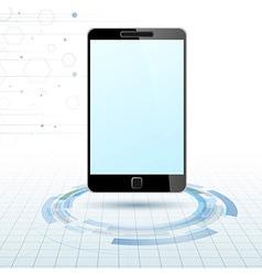 Modern mobile device over technology rings vector